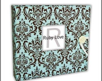 BABY BOOK | Vintage Blue and Brown Damask Album | Baby Memory Book