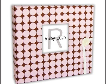 BABY BOOK | Pink and Brown Dotty Baby Book - Ruby Love Baby Memory Book