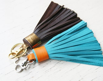 Leather Tassel Keychain  Leather Tassel Key Fob Gold Accessorie For Bag Tassel Charm Dark Brown Gold