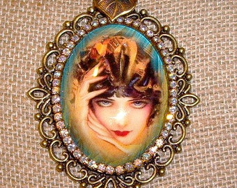 "Flapper Lady Art Bubble Cameo With Glitter Necklace  24"" Chain By Caroline Erbsland"