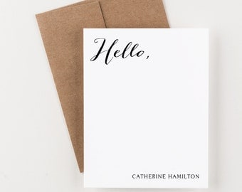 Personalized Stationery, Hello with Name, Stationery, Thank You Notes, Boxed Set