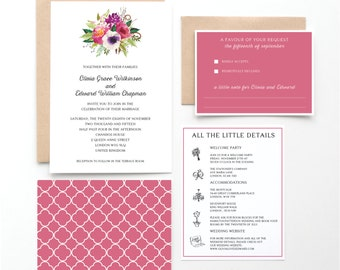 Painted Blooms Wedding Invitation Collection, Rose, Violet, Blush, Botanical Invitation, Wedding Announcement