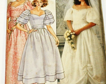 Vintage 1980s, Sewing Pattern, Butterick 3137, Misses' Bridal Gown, and Bridemaid's Dresses, Misses' Size 16, UNCUT, FF
