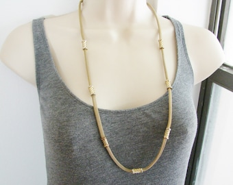 Vintage long brassy gold mesh  chain necklace