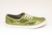 Sequin CVO Custom Lime Green Canvas Sneaker Tennis Plimsoll Shoes