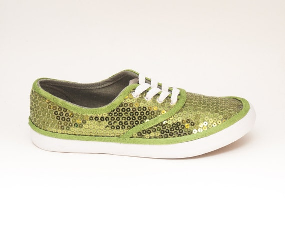 sequin cvo custom lime green canvas sneaker tennis plimsoll