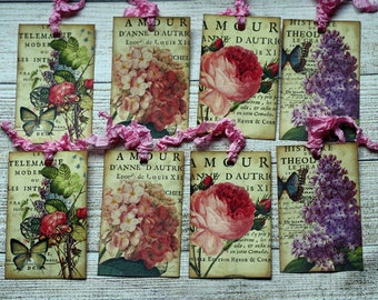 Vintage Ephemera Tags Spring Flowers, Set of 8 for Journaling or Gift Tags, Vintage Style
