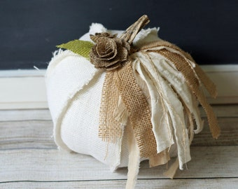 White Burlap Fabric Pumpkin Shabby Cottage Chic Centerpiece Elegant Rustic Fall Decor Neutral Thanksgiving Table