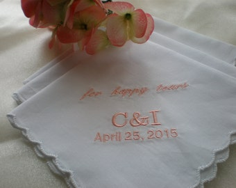 Happy Tears Hankies. SALE.Scalloped set of 3 Bridal Party. Mother of Bride and Groom. Bridal. Wedding