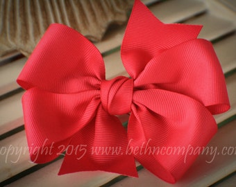 Hot Pink Grosgrain Pinwheel Girls Hair Bow