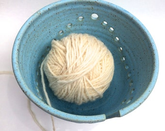 XXLarge  Ceramic Yarn Bowl Knitting Bowl in a Soft Satin Turquoise  READY to SHIP