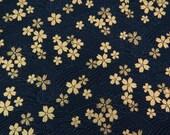 2610D - Gold Sakura Blossoms in Black , Gold Print Flower Fabric , Japanese Kimono Style