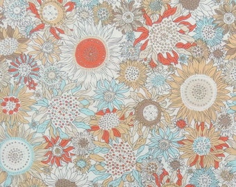 2554C - Sunflower Fabric in Orange and Light Blue Color Combo , Flower Fabric , Blossom Fabric