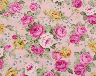 2601A -- Rose Floral Fabric in Pink , Pink Rose Fabric , Flower Fabric