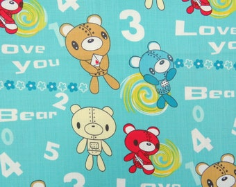 2606B - Adorable Bear Fabric in Robin Egg Blue , Bear , Letter , Flower , Cypher , Kawaii Animal Fabric