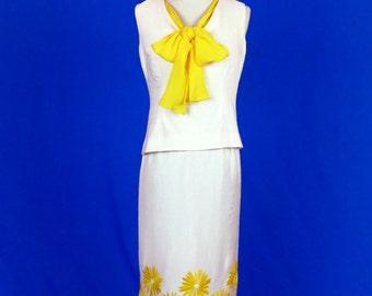 Yellow and White 1960s Anita Modes Dress