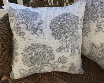 Decorative Pillow Cover - Gray Toile Pillow Covers - French Toile Pillows