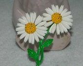 Vintage Enamel  and Plastic Petals Double Daisy Brooch Yellow White Green Leaves