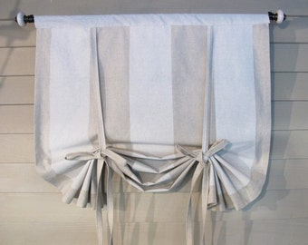 Neutral Stripes 48 Inch Long Stage Coach Blind Swedish Roll Up Shade