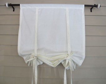 Ivory Cotton 72 Inch Long Stagecoach Window Shade Roll Up Swedish Blind Off White Tie Up Curtain Swag Balloon