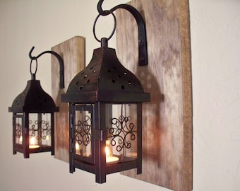 Lantern set.  Wall decor, wall sconces, housewarming gift, bathroom decor, wrought iron hook, rustic wood boards