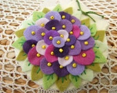 Pretty Needle Case/Pin Cushion with Felt Flowers and Leaves