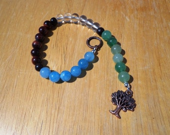 Celtic Prayer Beads with Elemental Gemstones and Antiqued Copper Charms