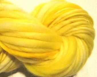 Handspun Yarn Almost Solid Yellow 64 yards hand dyed merino wool yellow yarn waldorf doll hair knitting supplies crochet supplies
