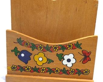 Vintage Napkin Holder, Wooden Napkin Holder, Flowers, Butterflies, Vintage Kitchen Decor, Vintage Housewares, Unique Holder, Bill Holder