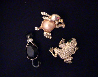Vintage Trio Rhinestone Figural Scatter Pins Kitty, Bunny, Frog