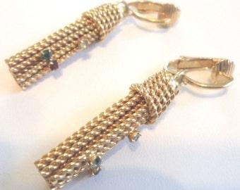 Vintage Rope Tassel-Like Clip Earrings w/ Rhinestones