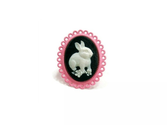 Sweet Lolita Ring Cameo Bunny Kawaii Statement Jewelry Lace Edge Adjustable Fairy Tale Ring - AS IS