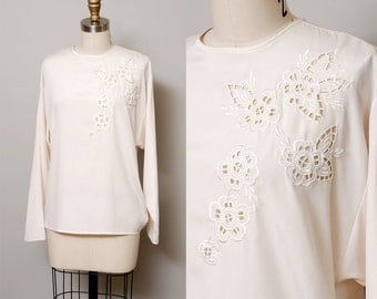 1990s Blouse - Ivory Floral Cut Out Sheer Blouse