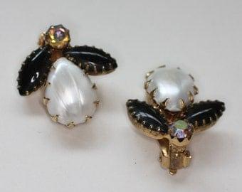 Juliana D & E Earrings Faux Pearl Black Navette Stone Vintage