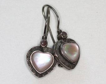 MOP Sterling Earrings Heart Shape Pierced Lever Back Vintage Dangle