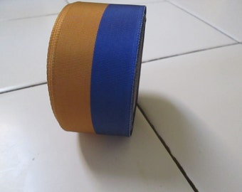 Ribbon, vintage grosgrain, perfect, never used navy and gold two tone 1960's