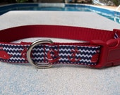 Boats Anchors and Whales - Chevron Nautical Dog Collar, In M, L, XL, Choice of Buckle Color
