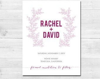 Modern Floral Printable SAVE THE DATE Calligraphy themed card - wedding - Download