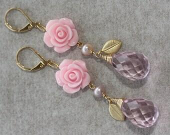 Pink Rose Briolette Summer Bouquet Earrings, Summer Weddings, Easter Spring, Bridal Jewelry, Bridal Shop, Feminine Jewelry, For Flower Girl