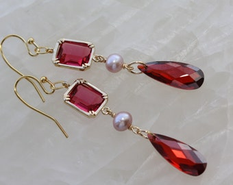 Ruby Red Cubic Zirconia Drops Festive Gold Earrings, Jewelry Gifts, Spring Weddings, Red Dangle Earrings, Valentines Gift