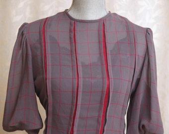 Gray Dress - Pleated - Nipon Boutique - Sheer Secretary Dress