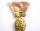Large Butterfly Floral Locket bouquet pin boutinnere corsage