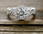 Round Moissanite Engagement Ring in 14K White Gold with Diamonds in Flower Buds and Leafs on Vine Motif Size 9