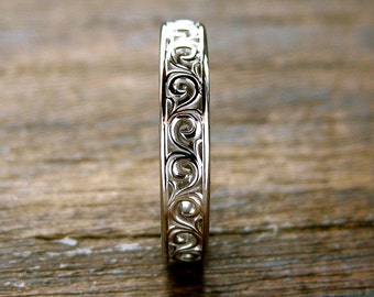Scroll Wedding Ring in 14K White Gold with Glossy Finish Size 6
