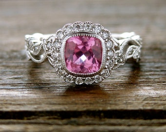 Tanzanian Hot Pink Spinel Engagement Ring in 14K White Gold with Diamonds in Flower Blossoms and Leafs on Vine Size 6