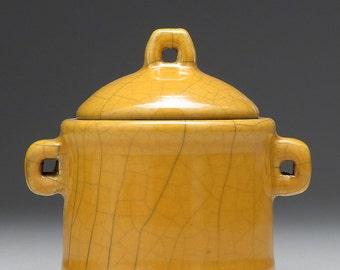 Ceramic Trinket Box, yellow gold, round handmade raku fired clay box, treasure box, home decor, lidded box