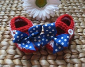 American Pride Military Homecoming Red White and Blue Flag Cotton Baby Mary Janes 0-3 Months - free shipping