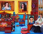 Fine Art Print Mexican Art Still Life Interior Frida Kahlo Parrots Birds Bedroom from Original Oil Painting  by k Madison Moore
