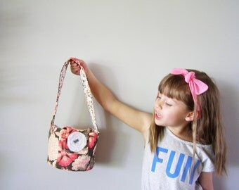Purse-girls-bucket bag - little cotton girls' purse - pink, beige, and brown floral pattern bag - gifts for children