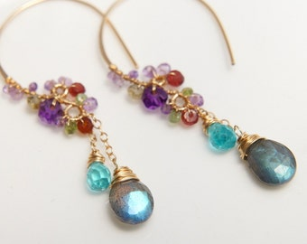 Labradorite Chandelier Earrings, Colorful Gemstone Jewelry, Purple Earrings, Gold Filled